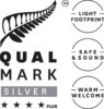 Stacked Qualmark 4 Star Plus Silver Sustainable Tourism Business Award Logo